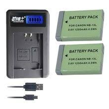 2Pcs 1250mAh <b>NB</b>-<b>13L NB13L NB 13L</b> Batteries + USB single ...
