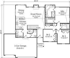 Ranch Living   Three Car Garage   SL   st Floor Master    Floor Plan