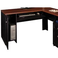 l shaped black lacquer wooden computer desk with brown table top having cabinet storage and keyboard black shaped office desks