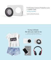 Кожаный чехол + <b>защитная линза для</b> экшн-камеры Xiaomi Yi 4K ...