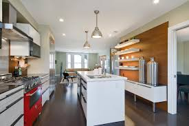 modern kitchen cabinet doors sxjpgrendhgtvcom neutral modern kitchen with red oven white island and wood wall