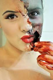 zombie makeup tutorial how to image 5 this zombie takes her exfoliation a little too seriously the effect definitely requires more than just