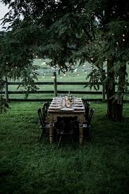 <b>Outdoor</b> dining // <b>dining table</b> set in a field under the trees (With ...