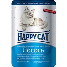 <b>Паучи</b> Happy <b>Cat</b> Лосось нежные кусочки и ломтики в крем-соусе ...