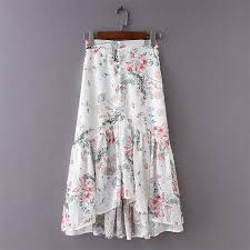 Women floral print Boho Chic White Beach <b>Long skirt Summer</b> ...