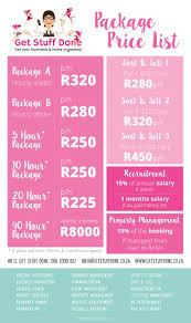packages get stuff done our price list