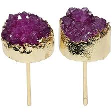 <b>TUMBEELLUWA</b> Druzy Stud Earrings for Women <b>Titanium Coated</b> ...