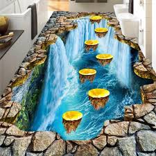 beibehang <b>Custom floor painting 3d</b> large scale thrilling gold plum ...