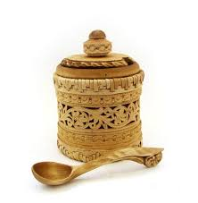 Birch bark sugar bowl with a wooden <b>spoon</b>, Birch bark bowl, birch ...