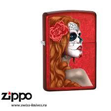 <b>Зажигалка</b> широкая Zippo <b>Classic</b> Day of Dead Girl Candy Apple ...