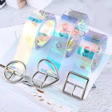 <b>2019 New Transparent</b> Women <b>Belt</b> Laser Holographic Pin Buckle ...
