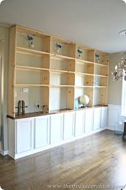 diy built ins bookcase with base cabinets from the big box store upper shelves are build living room built ins