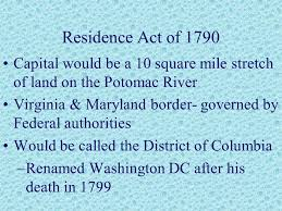 「residence act of 1790」の画像検索結果