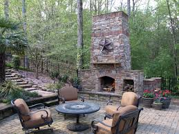outdoor fireplace paver patio: outdoor living room area fireplace paver patio stone walkway
