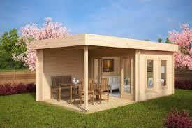 contemporary garden log cabin with veranda lucas e big garden office ian