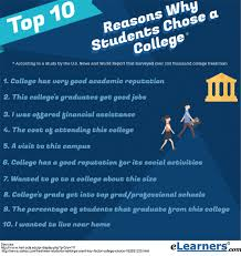 Top 10 Reasons Why Students Choose a College | eLearners Top Reasons for Choosing a College