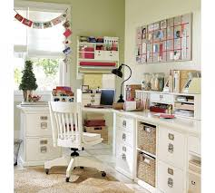 chic home office decor:  shabby chic soft green home office design ideas with corner office white desk furniture