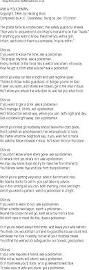 old time song lyrics for 25 ask a policeman music lyrics as png graphic file