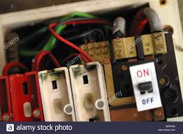 consumer unit box electrical fuse box old wire fuse type in a stock photo consumer unit box electrical fuse box old wire fuse type in a 1970 s house