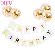 <b>QIFU</b> banners streamer confetti Gold <b>Balloons</b> Pink White <b>Happy</b> ...