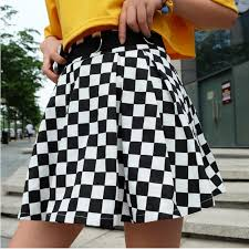 <b>Pleated Checkerboard Skirts</b> Womens High Waisted <b>Checkered</b> ...