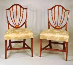 hepplewhite shield dining chairs set: set  hepplewhite inlaid shield back dining chairs inv