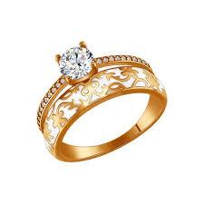 <b>Позолоченное кольцо</b> с эмалью и фианитам <b>SOKOLOV</b> – купить ...