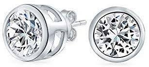 .<b>50</b> CT Round Solitaire Cubic Zirconia Bezel <b>Set</b> Stud <b>Earrings</b> For ...
