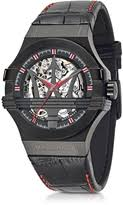 futuristic watches for men shopstyle maserati black stainless steel case and leather strap men s watch