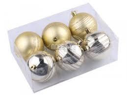 <b>Украшение</b> Золотая сказка Набор шаров 6шт 8см Light Gold ...
