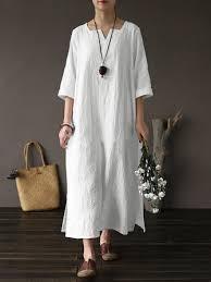 <b>plus size vintage</b> cotton <b>v</b>-<b>neck</b> maxi dress for women at Banggood