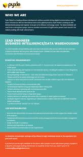 vacancy advertisement lead engineer business intelligence data warehousing