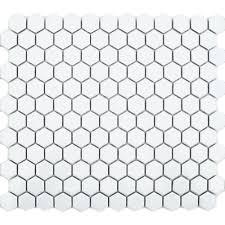 Hexagon Tile Floor Patterns Matt White Hexagon Tile Toto Hexagon Mosaic Mosaic Tiles
