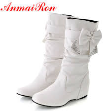<b>ANMAIRON</b> Hot Styles <b>New Fashion</b> Flat Boots Soft Leather For ...