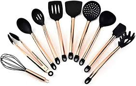 Blessvt <b>11PCs Silicone Cooking</b> Kitchen Utensils Set Copper Plated ...