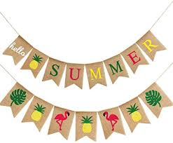 2 Pieces <b>Hello Summer</b> Banner Flamingo Pineapple Palm Leaves ...