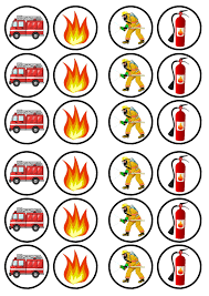 Firefighter Cupcake Decorations Fire Engine Fireman Service Edible Premium Wafer Paper Cupcake Toppers