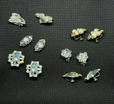 Lot Of <b>6 Pairs Vintage</b> Earrings Clip On Screw-backs Rhinestones ...
