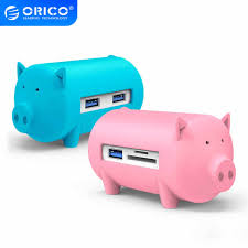 <b>ORICO</b> Cute Pig USB 3.0 HUB Multi USB Splitter <b>3</b> USB <b>Port</b> with TF ...