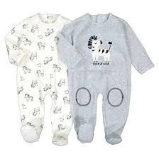 <b>2 пижамы</b> слитные из велюра 0 мес-3 лет экрю + серый меланж ...