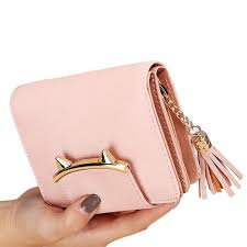 Mini Wallet <b>PU Leather</b> Cat Ears <b>Tassel</b> Purse Short Clutch Wallet ...