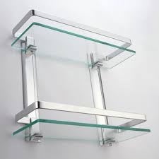 bathroom tempered glass shelf: amazoncom kes bathroom  tier glass shelf with rail aluminum and extra thick tempered glass shower shelving rectangular contemporary style wall mount