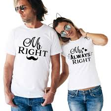 Matching Couple T Shirt Mr Right <b>Mrs Always Right</b> Funny Couple ...