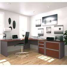cool modern two tone colors grey and brown plywood corner office desk master with black leather buy burkesville home office desk