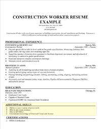 construction worker resume example resume template skills section