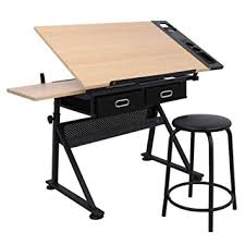 Yaheetech Adjustable <b>Tiltable Tabletop Drawing</b> Table Home Office ...