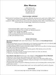 professional housekeeper room attendant templates to showcase your    resume templates  housekeeper room attendant