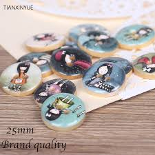 25mm Fashion girl <b>wooden buttons two holes</b> Natural Wooden ...