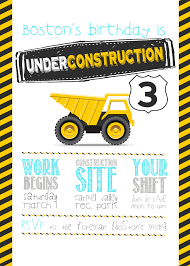 year old construction party printables boss 3rd birthday invite construction party