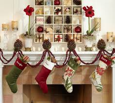 cheap christmas decor:  furniture amp accessories cheerful cheap christmas decorations patterned sock ornaments bright red flowers white fireplace